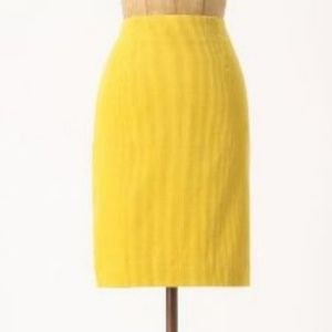 Maeve Mustard Yellow Corduroy Wale Pencil Skirt